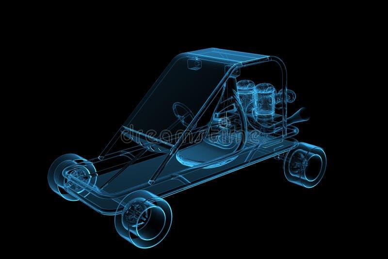 τρισδιάστατο μπλε gocart που &ka διανυσματική απεικόνιση