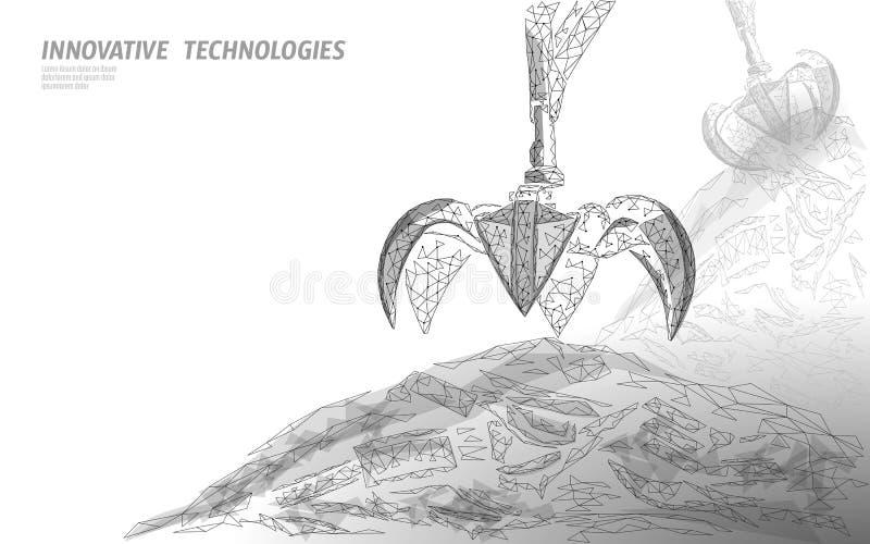 τρισδιάστατο νύχι βραχιόνων γερανών αποβλήτων Χαμηλό πολυ polygonal απορριμάτων έμβλημα eco υλικών οδόστρωσης βιομηχανικό Σφαιρικ διανυσματική απεικόνιση