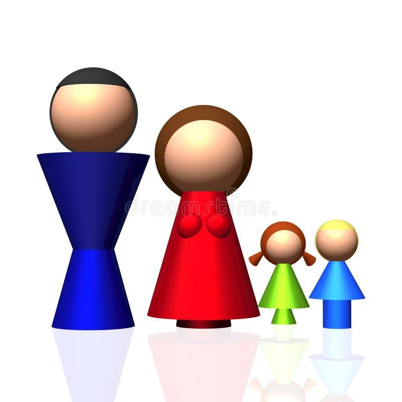 τρισδιάστατο οικογενειακό εικονίδιο απεικόνιση αποθεμάτων