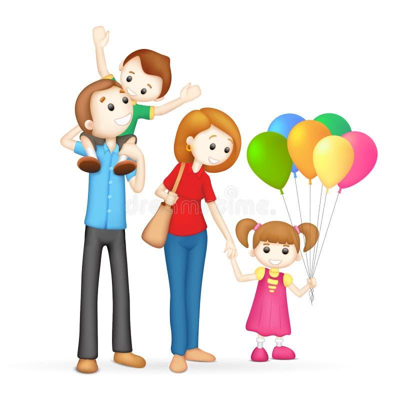 τρισδιάστατο οικογενειακό ευτυχές διάνυσμα απεικόνιση αποθεμάτων