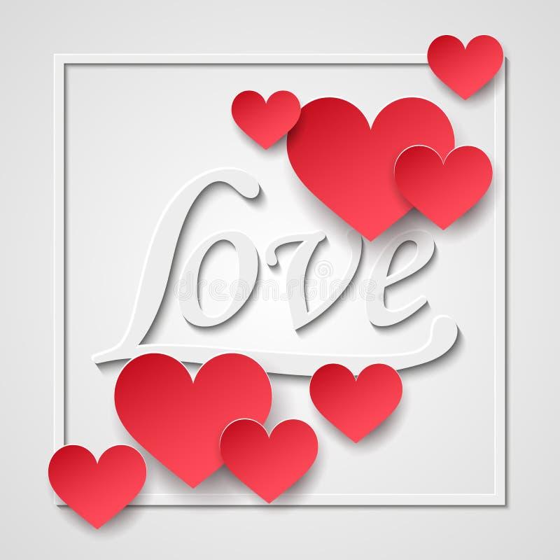 τρισδιάστατο πλαίσιο καρδιών βαλεντίνων εγγράφου, άσπρο κείμενο αγάπης Ευτυχής ημέρα βαλεντίνων και βοτάνισμα των στοιχείων σχεδί διανυσματική απεικόνιση