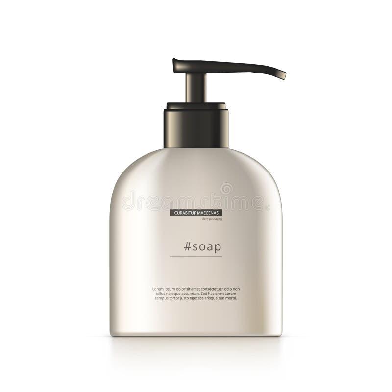 τρισδιάστατο πλαστικό μπουκάλι με το σαπούνι φροντίδας δέρματος διανομέων διανυσματική απεικόνιση