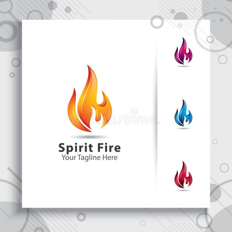τρισδιάστατο πνευμάτων σχέδιο λογότυπων πυρκαγιάς διανυσματικό με το σύγχρονο και μοντέρνο colorf διανυσματική απεικόνιση