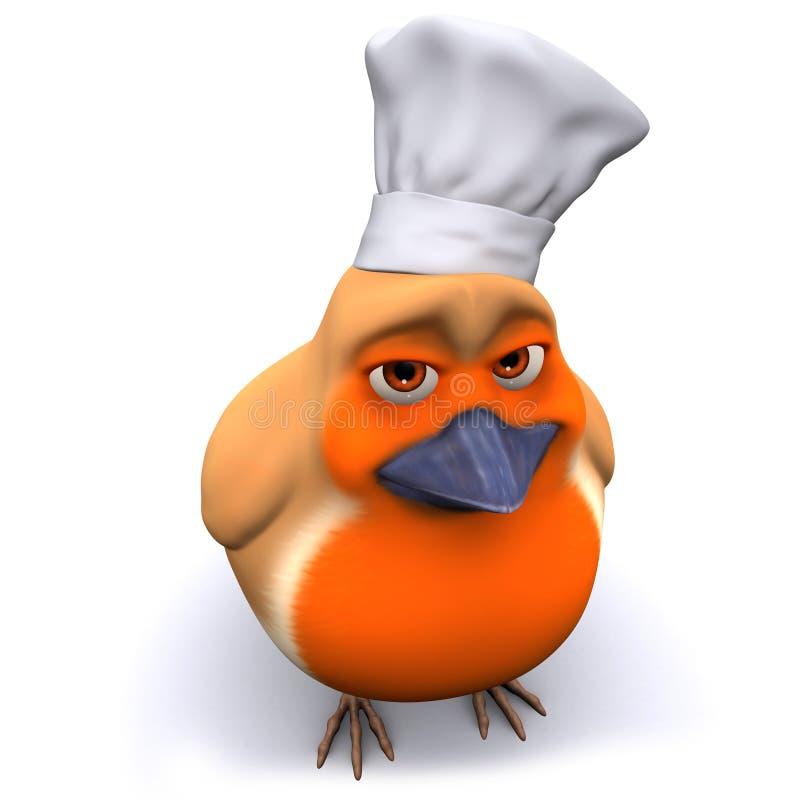 τρισδιάστατο πουλί του Robin κινούμενων σχεδίων που φορά ένα καπέλο αρχιμαγείρων διανυσματική απεικόνιση