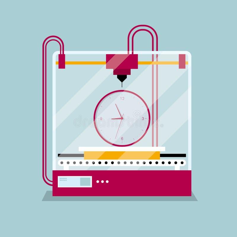 τρισδιάστατο πρότυπο ρολογιών εκτύπωσης, έννοια της γρήγορης διαμόρφωσης πρωτοτύπου διανυσματική απεικόνιση