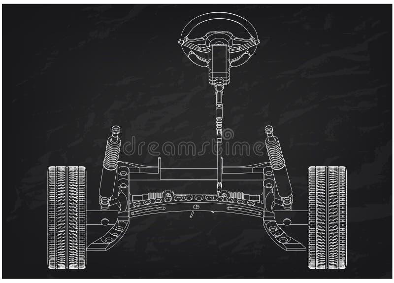 τρισδιάστατο πρότυπο της στήλης οδήγησης και της αναστολής αυτοκινήτων στο Μαύρο διανυσματική απεικόνιση