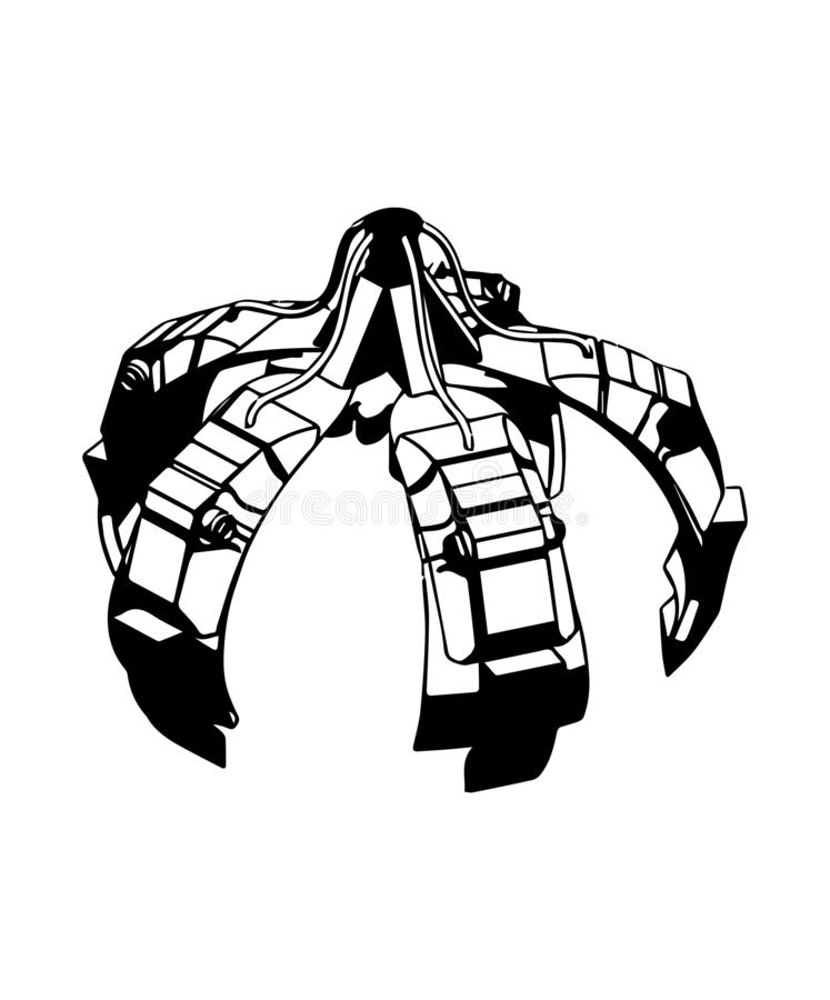 τρισδιάστατο πρότυπο του χεριού γερανών σε ένα λευκό ελεύθερη απεικόνιση δικαιώματος