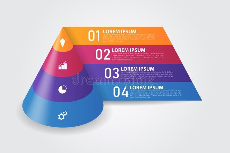 τρισδιάστατο πρότυπο Infographics πυραμίδων κώνων για την επιχείρηση, εκπαίδευση, σχέδιο Ιστού, εμβλήματα, φυλλάδια, ιπτάμενα διανυσματική απεικόνιση