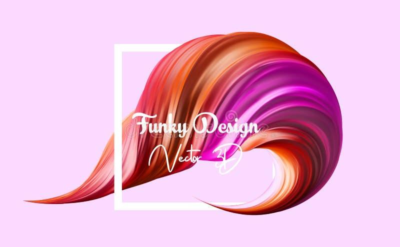 τρισδιάστατο ρεαλιστικό κτύπημα βουρτσών Αφηρημένο διανυσματικό ψηφιακό χρώμα χρώματος για το υπόβαθρο αφισών Σύγχρονη ζωηρόχρωμη ελεύθερη απεικόνιση δικαιώματος