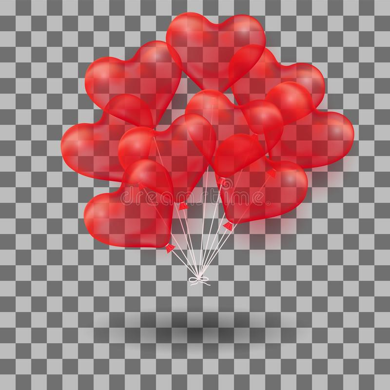 τρισδιάστατο ρεαλιστικό κόκκινο μπαλόνι καρδιών ηλίου Απεικόνιση διακοπών της δέσμης του πετώντας στιλπνού μπαλονιού απομονωμένος διανυσματική απεικόνιση