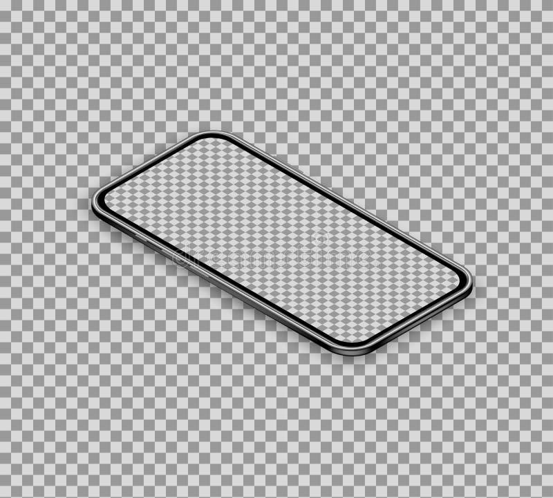 τρισδιάστατο ρεαλιστικό isometric smartphone που απομονώνεται στο διαφανές υπόβαθρο Έξυπνο τηλέφωνο με την κενή επίδειξη οθονών ε διανυσματική απεικόνιση