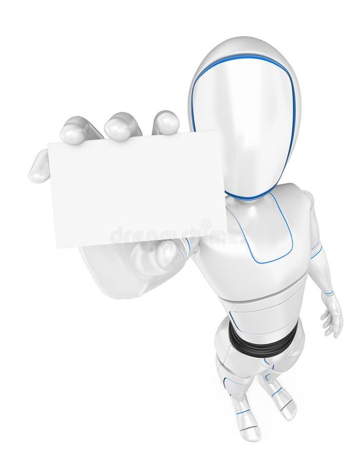 τρισδιάστατο ρομπότ Humanoid με μια κενή κάρτα απεικόνιση αποθεμάτων