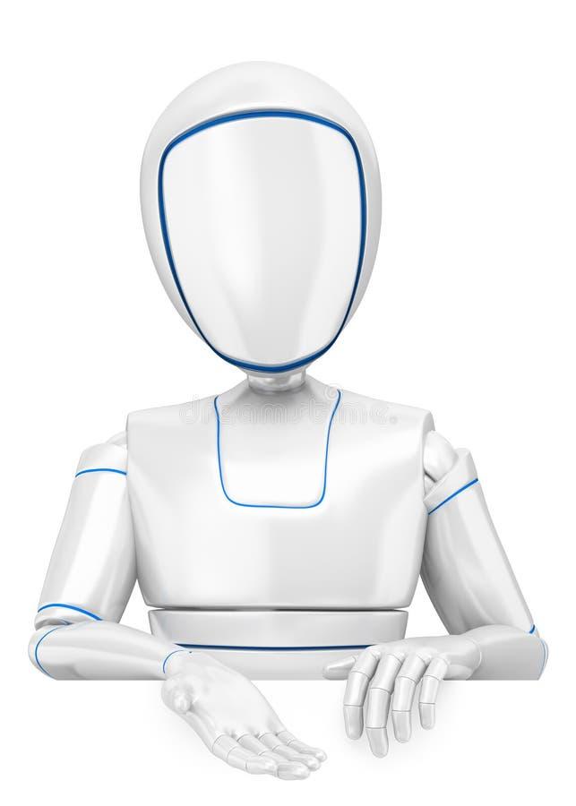 τρισδιάστατο ρομπότ Humanoid που δείχνει κάτω διανυσματική απεικόνιση