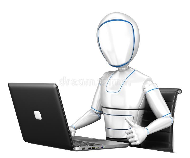 τρισδιάστατο ρομπότ Humanoid που λειτουργεί με ένα lap-top και έναν αντίχειρα επάνω διανυσματική απεικόνιση
