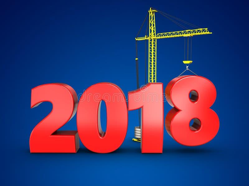 τρισδιάστατο σημάδι έτους του 2018 διανυσματική απεικόνιση