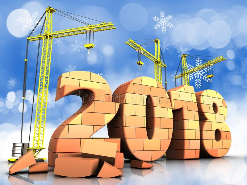 τρισδιάστατο σημάδι έτους τούβλων 2018 ελεύθερη απεικόνιση δικαιώματος