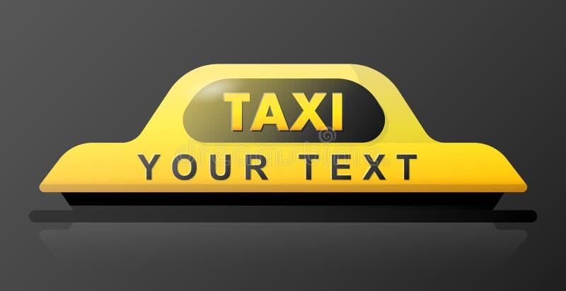 Τρισδιάστατο σημάδι στεγών ταξί τη νύχτα Φωτεινό σημάδι ταξί στο μαύρο υπόβαθρο Σημάδι ταξί στη στέγη του αυτοκινήτου επίσης core ελεύθερη απεικόνιση δικαιώματος
