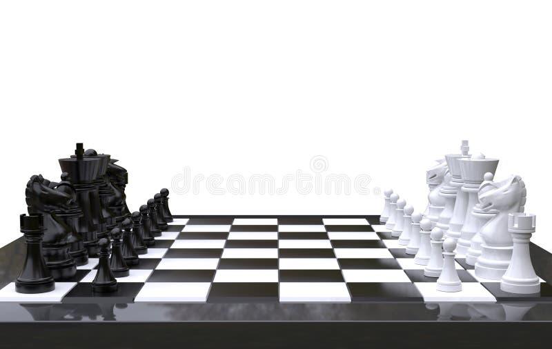 τρισδιάστατο σκάκι απόδοσης σε έναν πίνακα σκακιού, απομονωμένο άσπρο υπόβαθρο απεικόνιση αποθεμάτων