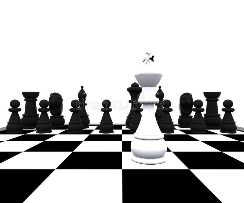τρισδιάστατο σκάκι - βασιλιάς στη μάχη ελεύθερη απεικόνιση δικαιώματος