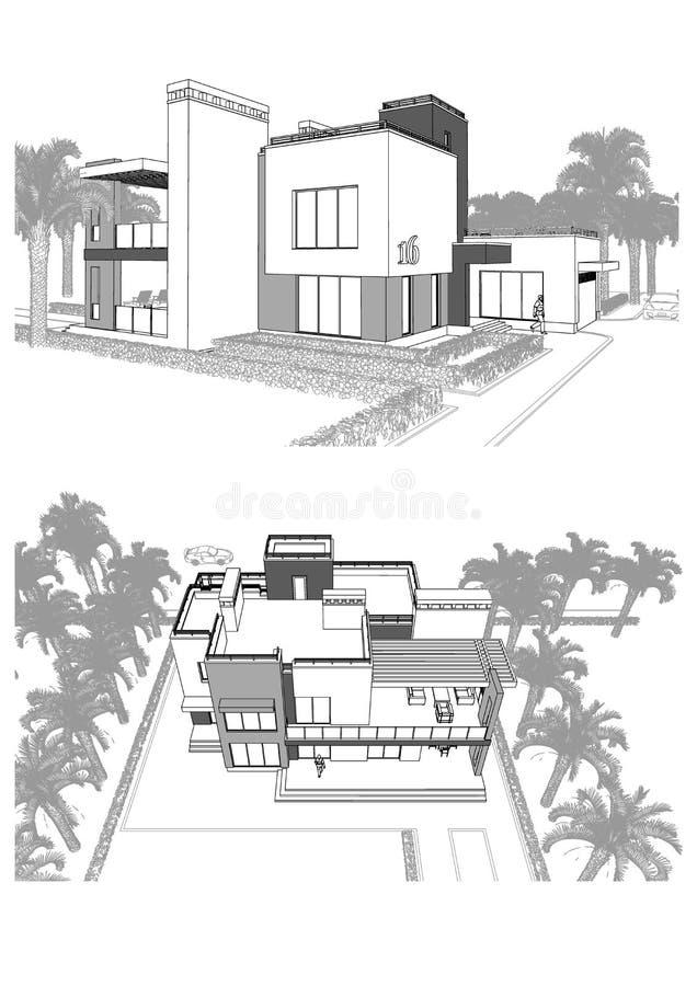 τρισδιάστατο σκίτσο ενός σύγχρονου ιδιωτικού κτηρίου με ένα πεζούλι, που περιβάλλεται από τους φοίνικες, τις διαφορετικές απόψεις διανυσματική απεικόνιση