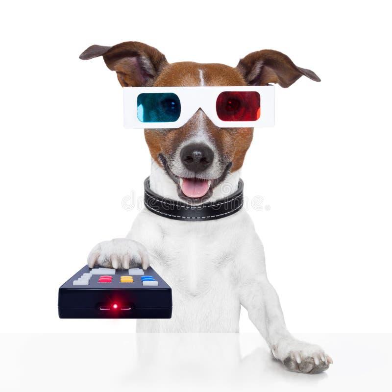 Τρισδιάστατο σκυλί κινηματογράφων TV γυαλιών τηλεχειρισμού στοκ φωτογραφίες