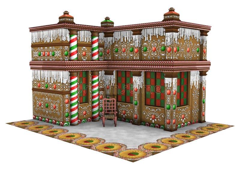 τρισδιάστατο σπίτι μελοψωμάτων Χριστουγέννων απόδοσης στο λευκό διανυσματική απεικόνιση