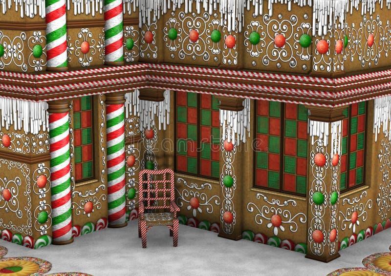 τρισδιάστατο σπίτι μελοψωμάτων Χριστουγέννων απόδοσης ελεύθερη απεικόνιση δικαιώματος