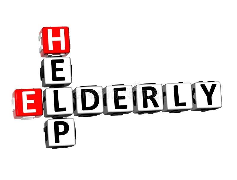 τρισδιάστατο σταυρόλεξο απόδοσης ηλικιωμένη βοήθεια Word πέρα από το άσπρο υπόβαθρο διανυσματική απεικόνιση