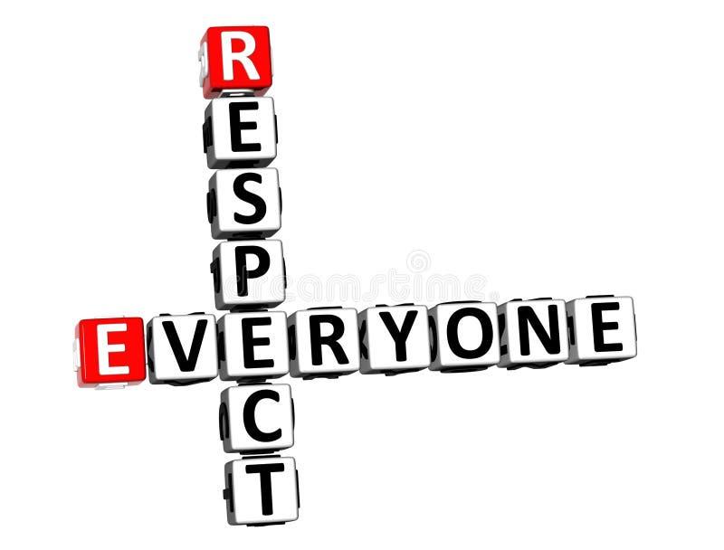 τρισδιάστατο σταυρόλεξο απόδοσης το καθένα σεβασμός πέρα από το άσπρο υπόβαθρο απεικόνιση αποθεμάτων