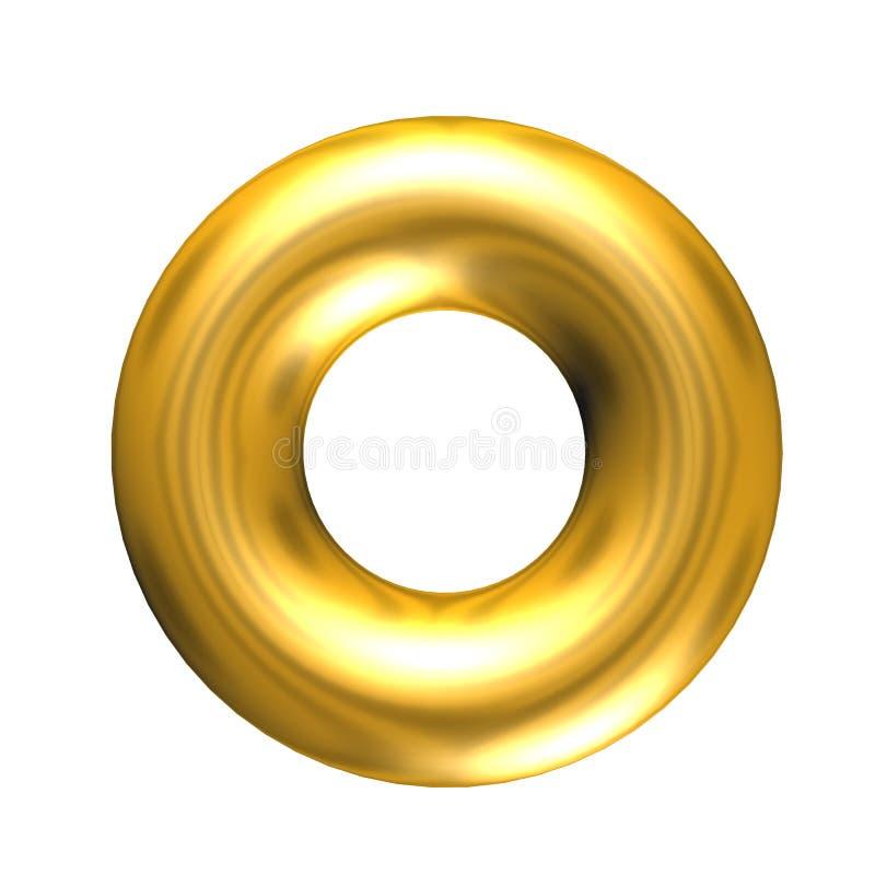 τρισδιάστατο στερεό χρυσό δαχτυλίδι διανυσματική απεικόνιση