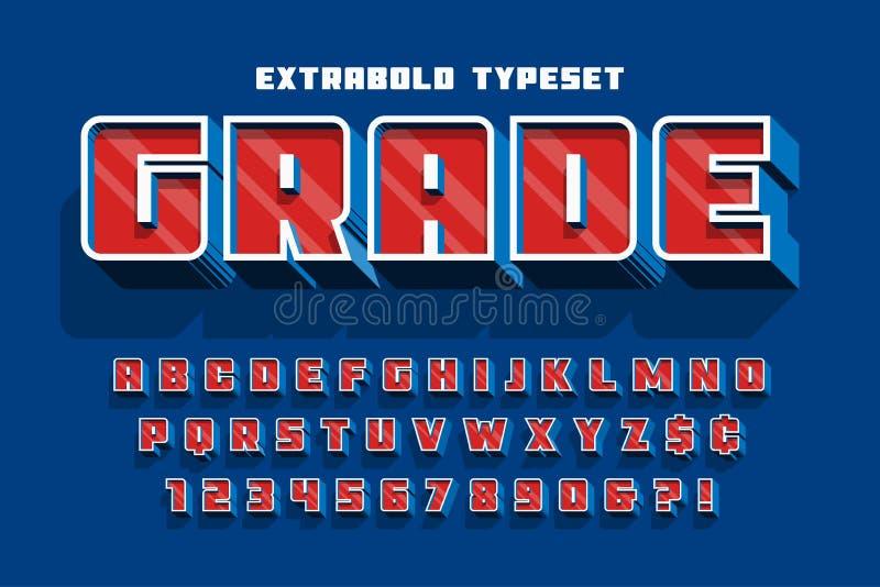 Τρισδιάστατο σχέδιο, αλφάβητο, επιστολές και αριθμοί πηγών επίδειξης Extrabold ελεύθερη απεικόνιση δικαιώματος