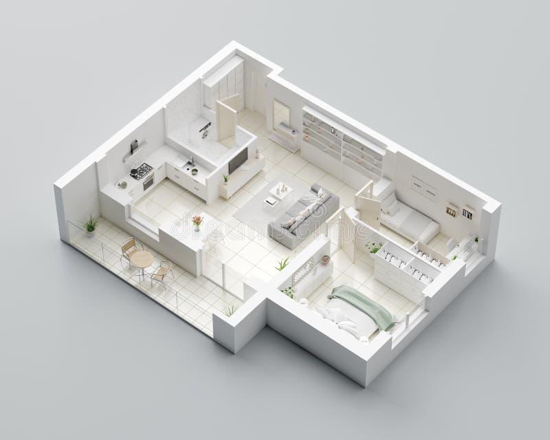 τρισδιάστατο σχέδιο ορόφων ενός σπιτιού Ανοικτό σχεδιάγραμμα διαμερισμάτων διαβίωσης έννοιας διανυσματική απεικόνιση