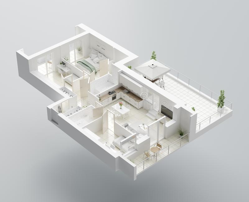 τρισδιάστατο σχέδιο ορόφων ενός σπιτιού Ανοικτό σχεδιάγραμμα διαμερισμάτων διαβίωσης έννοιας απεικόνιση αποθεμάτων