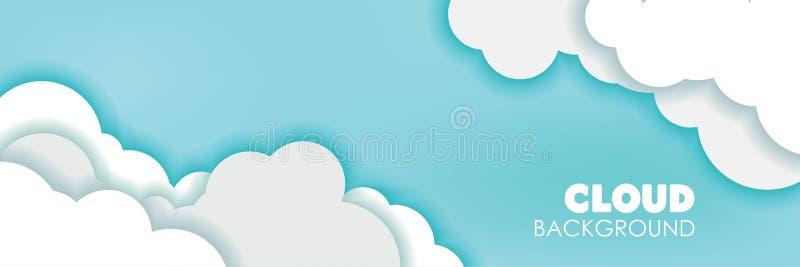 τρισδιάστατο σύννεφο Papercut και διανυσματική απεικόνιση υποβάθρου εμβλημάτων μπλε ουρανού εδώ τοποθετήστε το κείμενό σας διανυσματική απεικόνιση