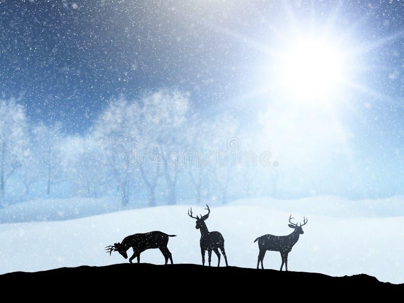 τρισδιάστατο τοπίο χειμερινού χιονιού με τις σκιαγραφίες των ελαφιών απεικόνιση αποθεμάτων