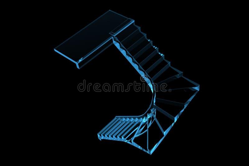 Τρισδιάστατο των ακτίνων X μπλε σκαλοπατιών Scrool ελεύθερη απεικόνιση δικαιώματος