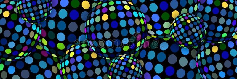 Τρισδιάστατο υπόβαθρο σφαιρών Disco Δημιουργικός μπλε κιτρινοπράσινος μωσαϊκών διακοσμήσεων Αφηρημένο σύγχρονο σχέδιο Ιστού διανυσματική απεικόνιση