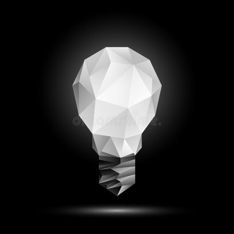τρισδιάστατο χαμηλό πολυ πρότυπο λαμπών φωτός Καμμένος polygonal απεικόνιση βολβών σε ένα μαύρο υπόβαθρο ελεύθερη απεικόνιση δικαιώματος