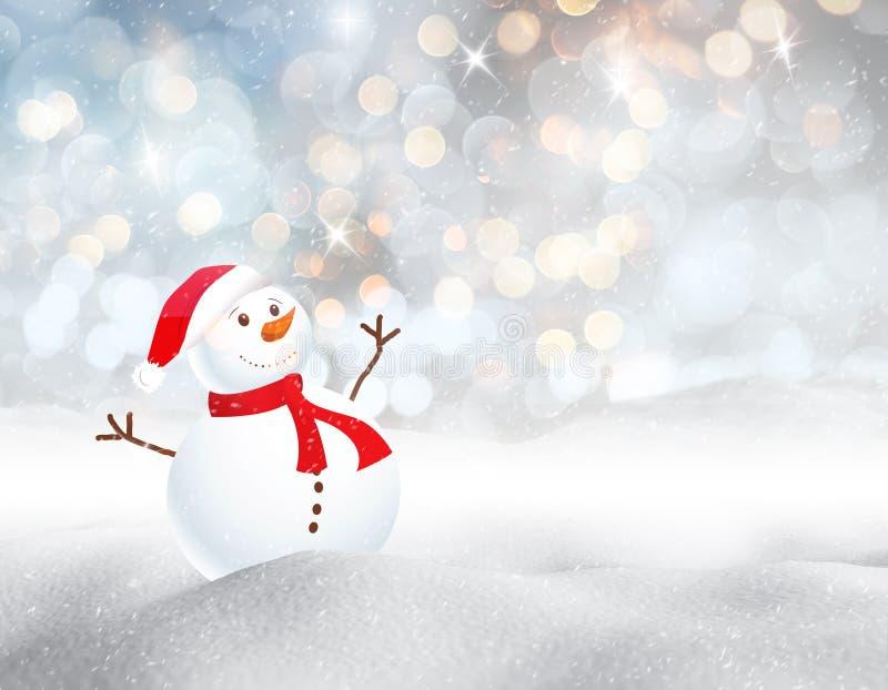 τρισδιάστατο χιονώδες τοπίο με το χαριτωμένο χιονάνθρωπο ελεύθερη απεικόνιση δικαιώματος