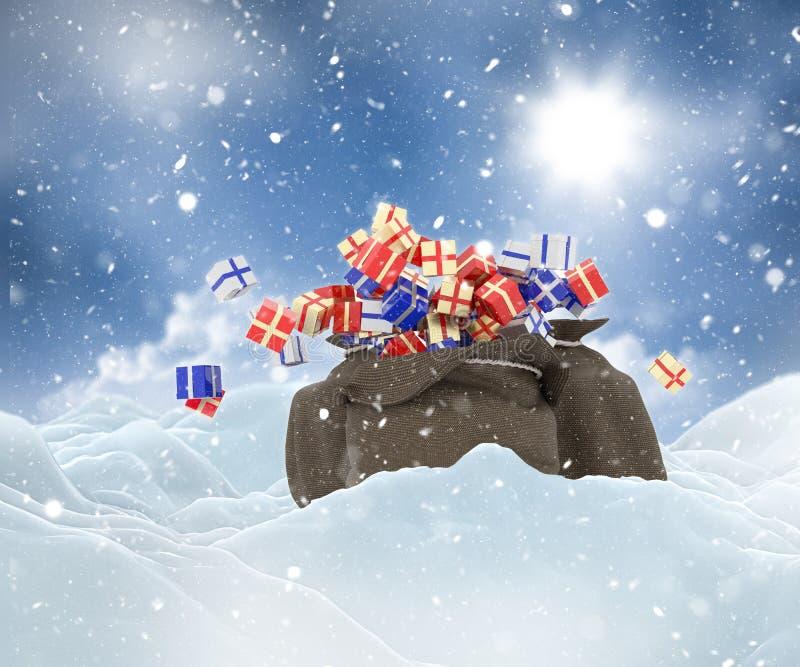 τρισδιάστατο χιονώδες τοπίο Χριστουγέννων με το σύνολο σάκων των δώρων διανυσματική απεικόνιση