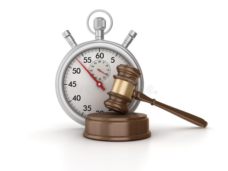 τρισδιάστατο χρονόμετρο με διακόπτη με νομικό Gavel απεικόνιση αποθεμάτων