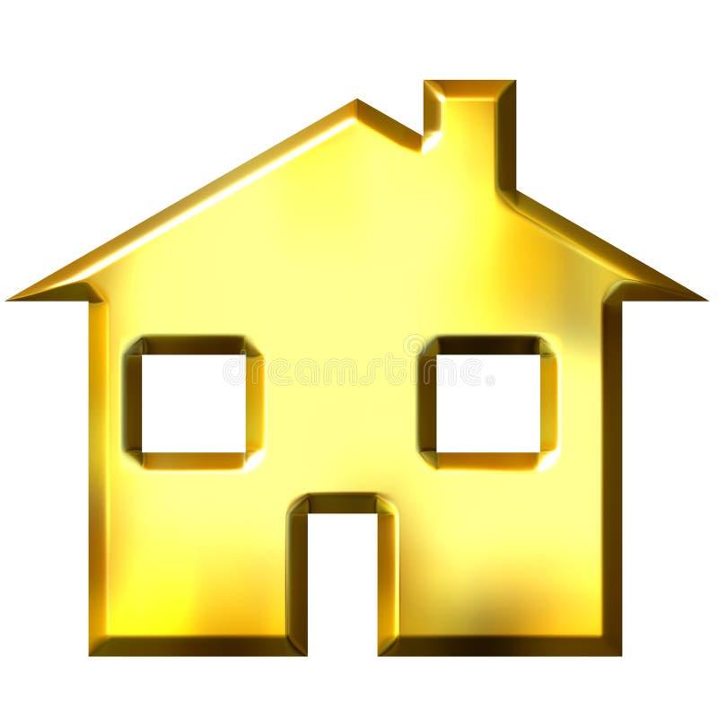τρισδιάστατο χρυσό σπίτι ελεύθερη απεικόνιση δικαιώματος