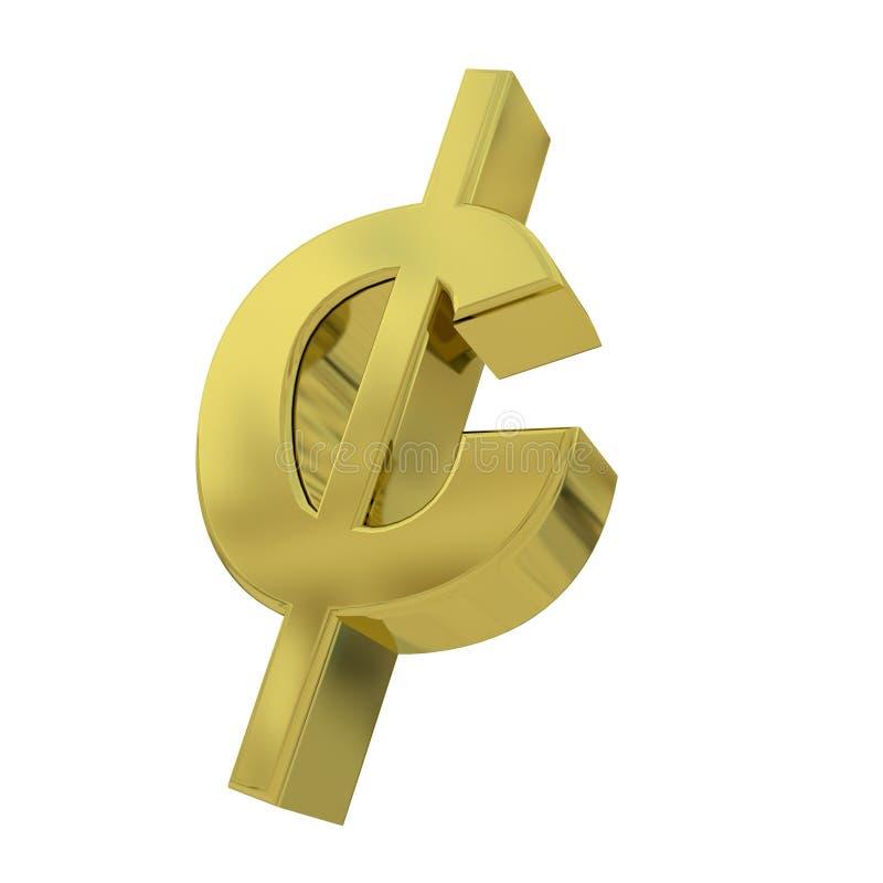 τρισδιάστατο χρυσό σύμβολο σεντ που απομονώνεται στο λευκό διανυσματική απεικόνιση
