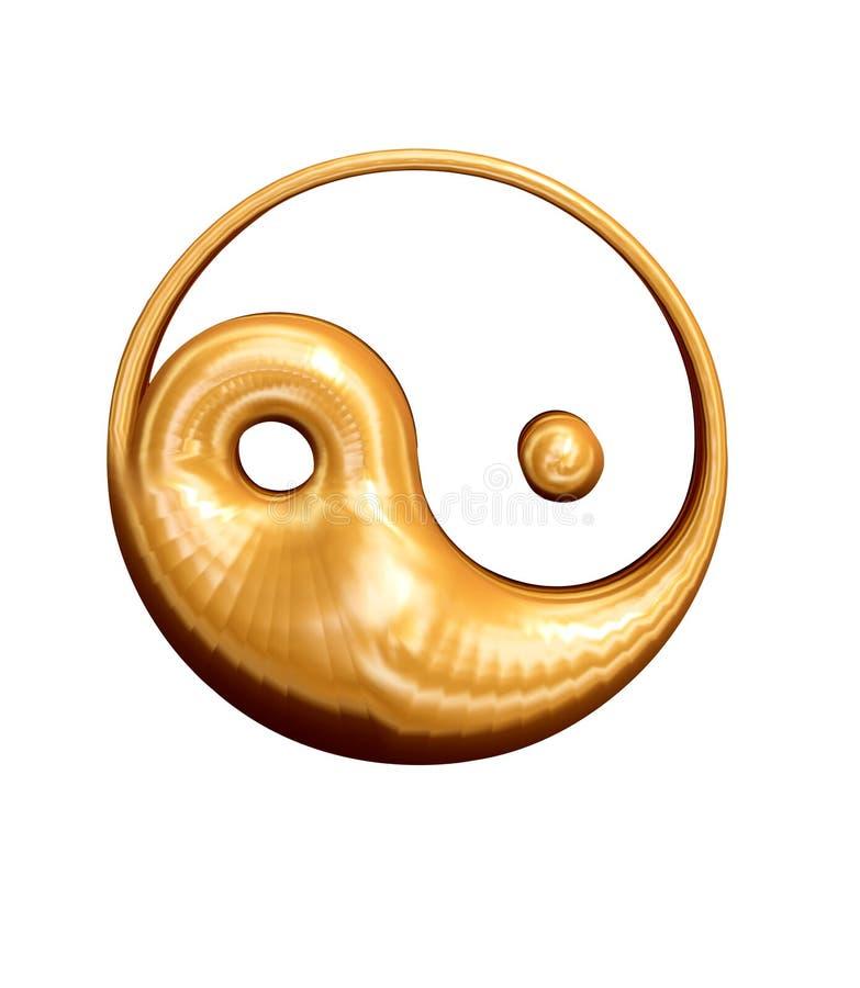 τρισδιάστατο χρυσό yang yin διανυσματική απεικόνιση