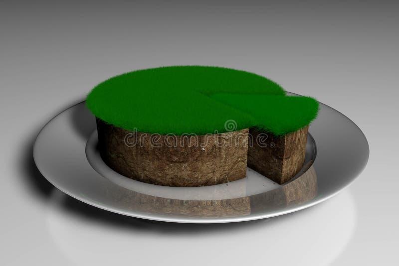 τρισδιάστατο χώμα απεικόνισης με τη χλόη με μορφή ενός κέικ με ένα κομμάτι περικοπών απεικόνιση αποθεμάτων