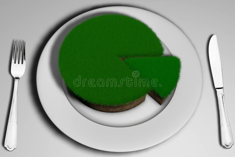 τρισδιάστατο χώμα απεικόνισης με τη χλόη με μορφή ενός κέικ με ένα κομμάτι περικοπών ελεύθερη απεικόνιση δικαιώματος