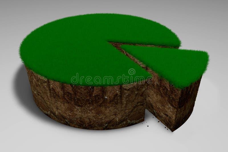 τρισδιάστατο χώμα απεικόνισης με τη χλόη υπό μορφή κέικ με ένα κομμάτι περικοπών διανυσματική απεικόνιση