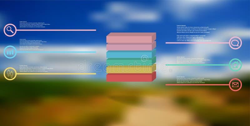 τρισδιάστατο infographic πρότυπο απεικόνισης με τον αποτυπωμένο σε ανάγλυφο κύβο που διαιρείται σε έξι μέρη διανυσματική απεικόνιση