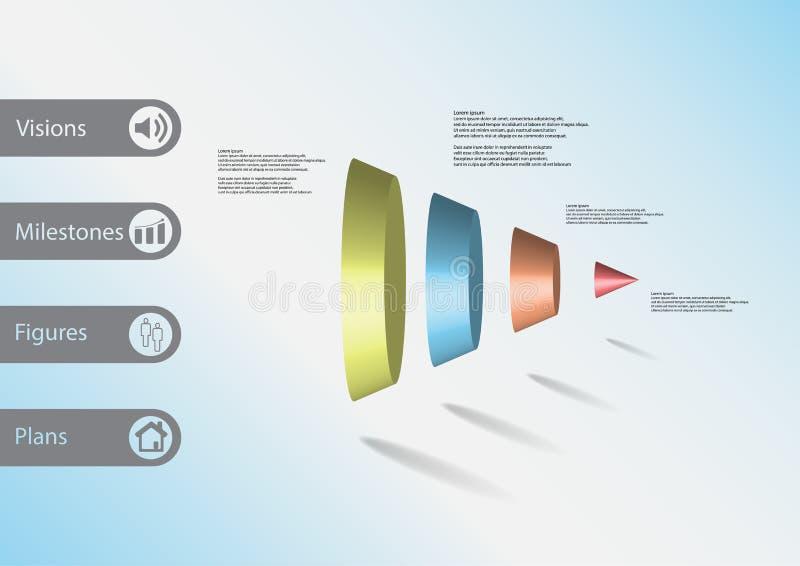 τρισδιάστατο infographic πρότυπο απεικόνισης με τον κώνο που διαιρείται κάθετα σε τέσσερα μέρη διανυσματική απεικόνιση