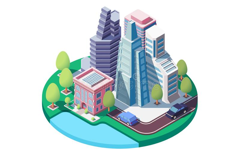 τρισδιάστατο isometric τοπίο πόλεων με την οδό, αστικό πάρκο, ουρανοξύστες ελεύθερη απεικόνιση δικαιώματος